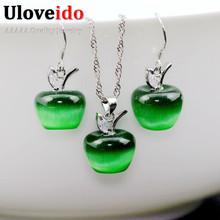 50% off Kids Jewelry Set 925 Sterling Silver Earrings Pendant Necklace Pink Crystal Jewelry Sets 2016 Fashion Jewellery Ulove(China (Mainland))