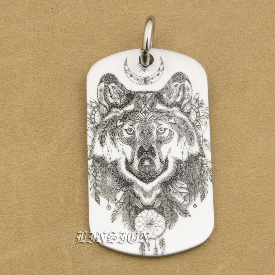 High Detail Laser Deep Engraved 316L Stainless Steel Indian Wolf Mens Boys Biker Rocker Punk Pendant Dogtag 9X111 JP