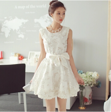 Spring Summer 2015 New Sexy Lace Dress Organza Casual Ball Gown Dresses With Bow Short Mini Party Dress Women WD1033(China (Mainland))