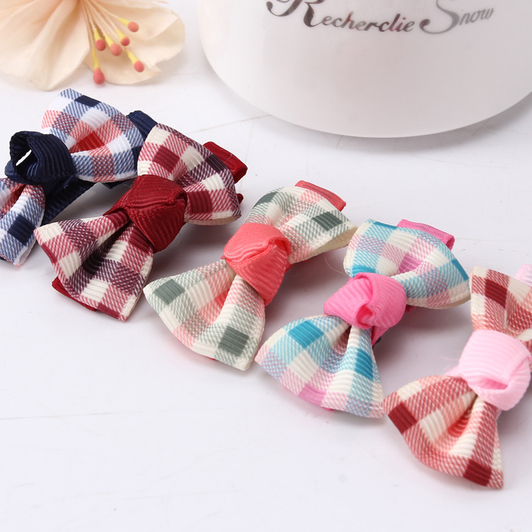 Scotland Style Fabric Art Hairpin Korean Check Gingham Children Bow Clamp Korea Children Headwear Yiwu