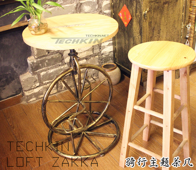 Factory production 60411 american country theme ride a for Bicycle wheel table