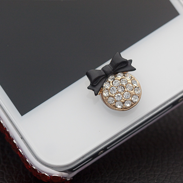 Bowknot is cellular diamond pattern Home Button Sticker for iPhone 4 4S 5 5s 6 plus for iPad 2 3 Air mini Mobile Phones