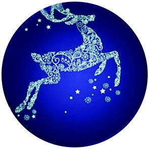 Blue Reindeer Christmas Necklace, Xmas Hostess Gift, Festive Holiday Jewelry Glass Photo Cabochon Necklace(China (Mainland))