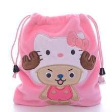 One Piece Chopper Figure Pink Cotton Cosmetic Rope Bag Coin Bean Bag Drawstring(China (Mainland))
