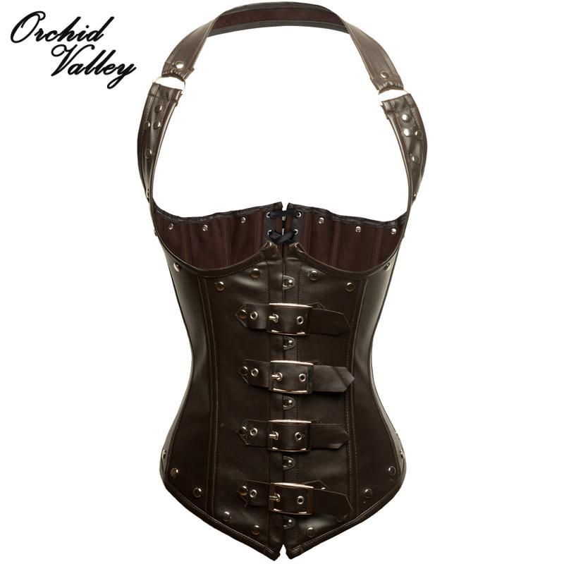 Steampunk Gothic Clothing Women Halter Buckle Brown Faux Leather Corset Steel Bone Underbust Bustier Espartilho Corselets