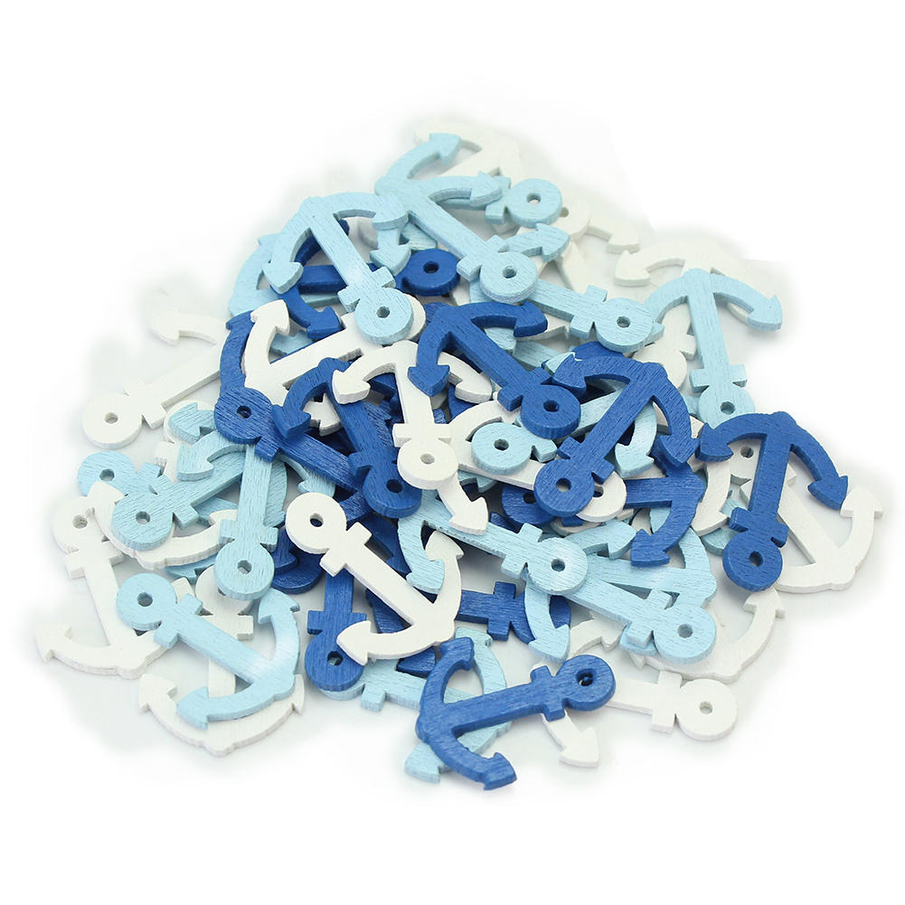 50pcs/Lot Mixed Colors Mini Wood Wooden Sea Anchor <font><b>Nautical</b></font> Craft Scrapbooking Embellishment DIY <font><b>Home</b></font> Hanging <font><b>Decor</b></font> 19x23mm