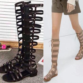2015 летние дамы мода прохладно сапоги девушки sandalias натуральная кожа плоским колено высокие гладиаторские сандалии ремешками римские женская обувь