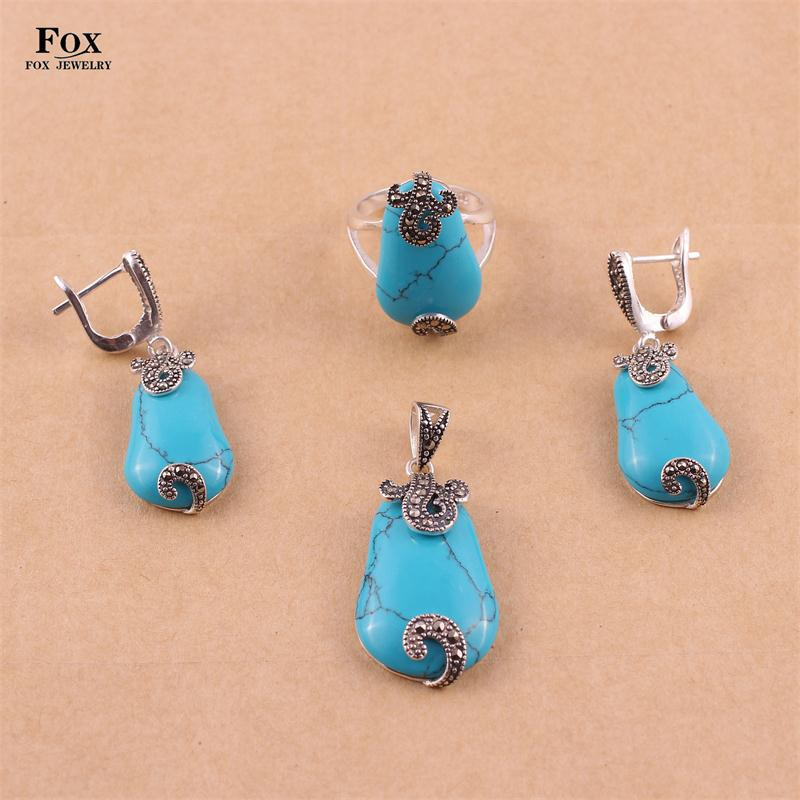 New Fashion High Quality Women Wedding Turquoise Jewelry Sets 925 Thai Silver Vintage Earrings Rings Necklaces Pendants 0693T5<br><br>Aliexpress