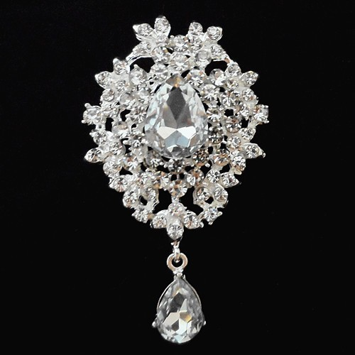 Retail Luxury Bright Silver Plated Waterdrop Shape Austria Crystal Pendent Pin Brooches Women Brooch Wedding Bouquet Brooch(China (Mainland))