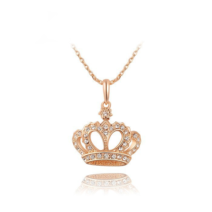 Factory Wholesale Price Hot Sale Luxury Noble Crown CZ Pendant Rhodium & Rose Gold Plated Necklace Fashion Jewelry(China (Mainland))