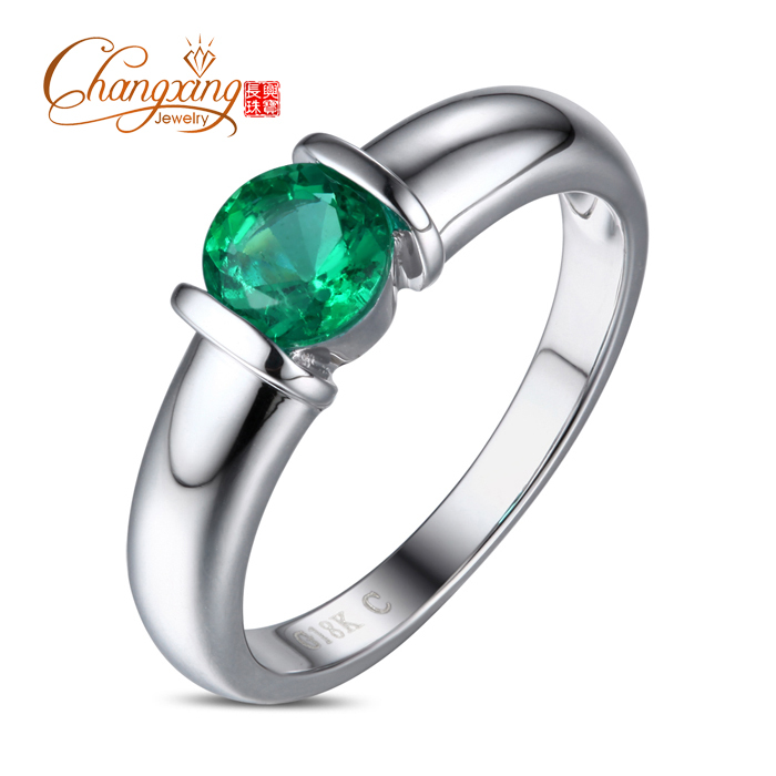 18k White Gold Natural 0.78ct Colombia Emerald Engagement Wedding Ring Band<br><br>Aliexpress