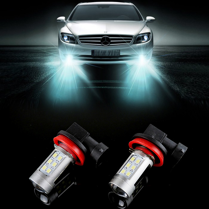 2pcs H11 LED canbus Bright White 21 2835 SMD Bulbs Reflector Mirror Design For Fog Lights For BMW 325 328 335i e90(China (Mainland))