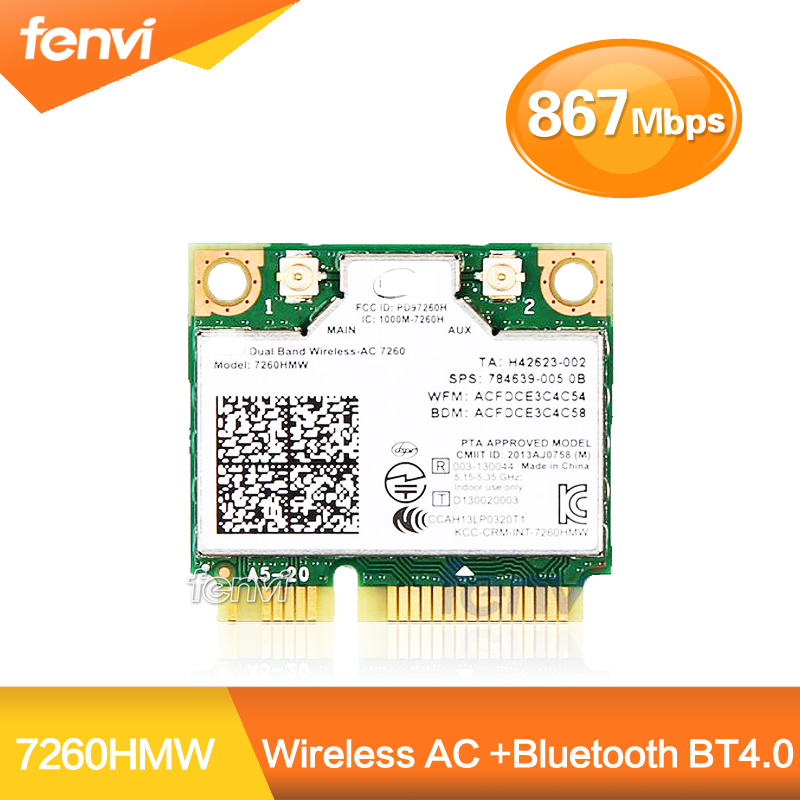 New Half Mini PCI-e bluetooth Wireless wifi card Dual Band 7260 7260HMW Wireless AC +Bluetooth 4.0 Wireless-AC WiFi BT 4.0(China (Mainland))