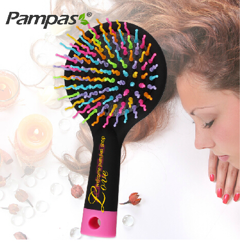 1pc rainbow tangle brush for brazilian indian keratin hair extension wig styling tools pinceis magic comb Free shipping(China (Mainland))