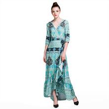 2017 Summer Women V-Neck Half Sleeve Printing Chiffon Maxi Wrap Dresses Ladies High Waist Sexy Long Bohemian Dress(China)