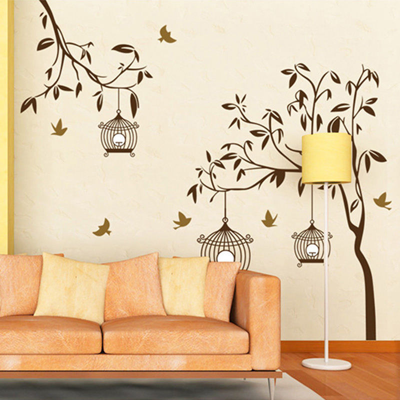 free shipping Tree Birds Birdcage wall decals Removable Vinyl Decal Art Wall Sticker Mural DIY Room Decor size 115*145cm(China (Mainland))