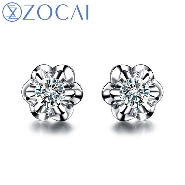 "ZOCAI Para Para Sakura ""0.3 Carat Diameter Effect "" 0.1 CT Certified 18K White Gold Round Cut Diamond Stud Earrings E00387"