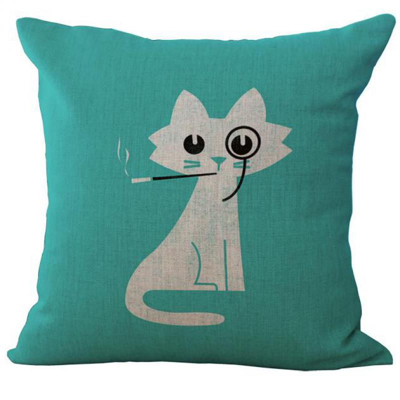 45 45 Cm Cute Cartoon Cat Printed Cotton Linen Throw Pillow Case Cushion Cover For Home