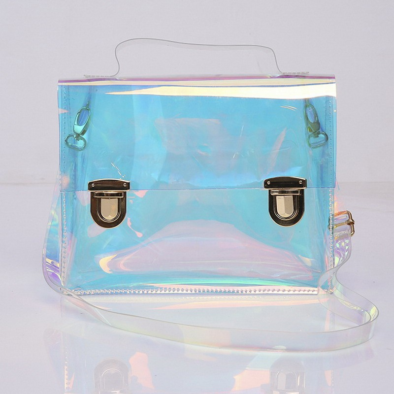 High Quality PVC Transparent Satchel Bag Waterproof Women Shoulder Bag Handbag with Lock Hasp Clear Women Messenger Bag Clutches(China (Mainland))