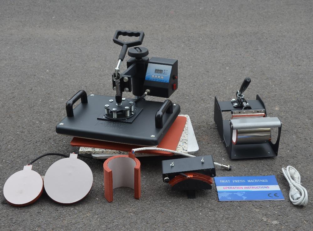New 30*38CM 6 in 1 Combo Heat Press Machine Sublimation Transfer Machine Heat Press Printer for Cap Mug T-shirts Plates Printing(China (Mainland))