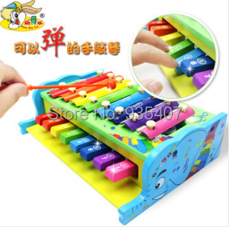 Young children's musical toys Sidel multifunctional wooden hand knock piano baby can play eight sound early childhood educationa(China (Mainland))