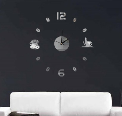Funlife DIY Coffee Cups Kitchen bar wall art mirror clock modern design silent watches home decoration wall clock wc1020(China (Mainland))