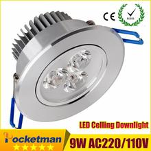 Wholesale 9W Ceiling downlight Epistar LED ceiling lamp Recessed Spot light AC85-265v for home illumination Free shipping(China (Mainland))