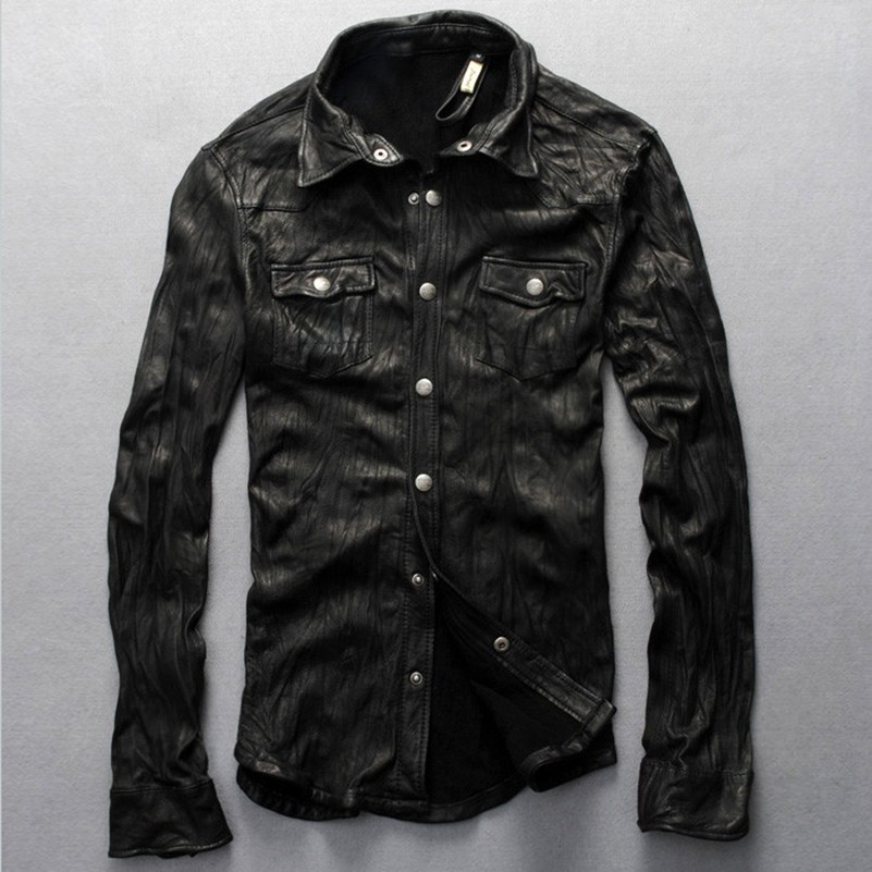 Popular Leather Shirt Jackets for Men-Buy Cheap Leather Shirt ...