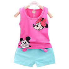 2016 New Casual Kid Girl Vest Set Short T-shirts+Pants 2pcs Tracksuit For Girls  Baby Sets  Summer  Children Clothes