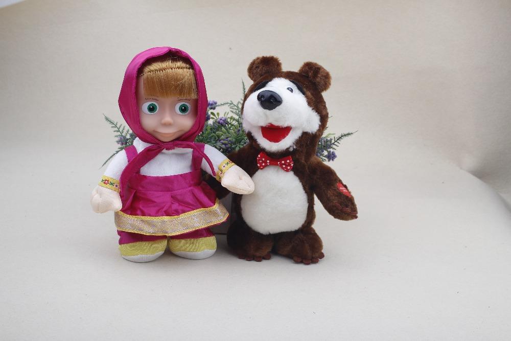 2015 New Masha and Bear Figure Toys Doll Walking Dacning Singing And Talking Masha Bear Kids Toys Brinquedos Gift For Girls(China (Mainland))
