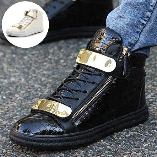 Fashion Casual Men Shoes Spring Autumn Buckle Zipper High Top Boots Warm Fur New  -  CN Shoes store