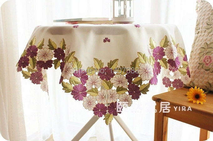 Wendding tablecloth white round table cover rectangle table cloth 3D embroidered flower design garden table decoration(China (Mainland))
