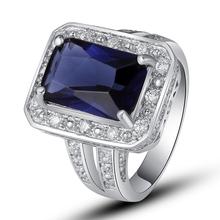 Wholesale 182R Emerald Quartz Sapphire Quartz & White Sapphire 925 Silver Ring Size 7 8 9 10 Free Shipping