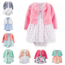 Carters Baby Girls Cardigan Romper Dress Bodysuit 2 Pieces Clothing Set Baby Girls Princess Dress Clothes Set,Freeshipping(China (Mainland))