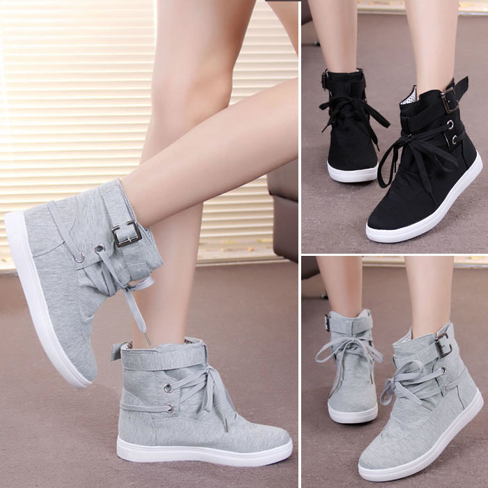 O098 Womens Girls Students Autumn Spring Lace-up Ankle Boots Fashion Canvas Shoes Casual Flats Sneakers Outerdoor Sports Casual(China (Mainland))