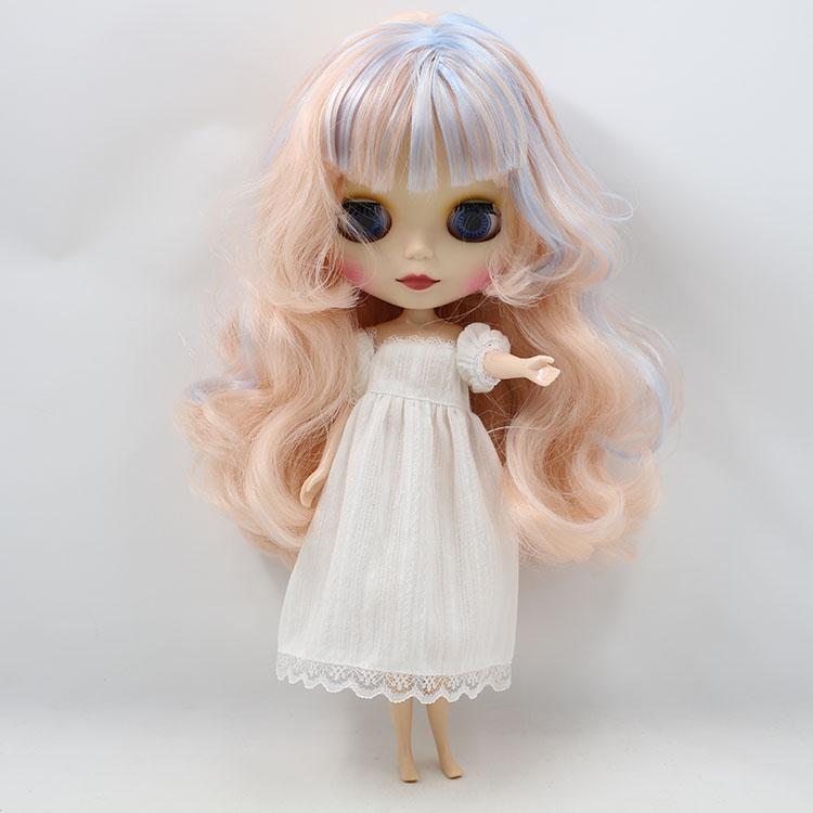 Blyth Muneca Pelo Largo y Rizado Mixto Con Rosa y Azul Cara Mateada, Nude doll Blyth Long Hair Mixed With Pink & Blue Matte Face(China (Mainland))