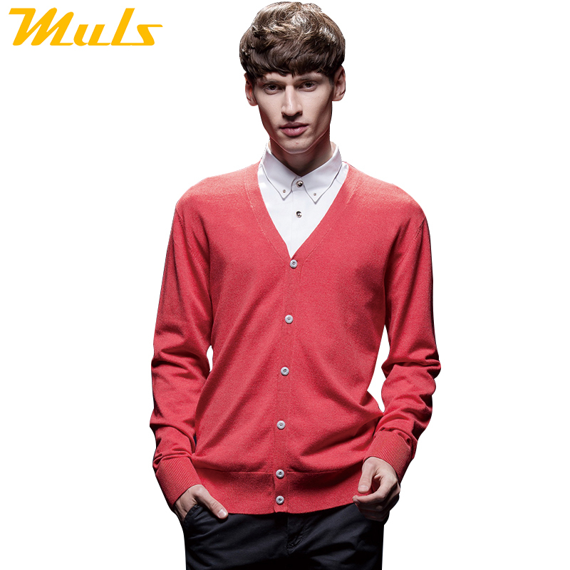 Best-selling products mens fleece sweater single breasted cardigan sweater solid V neck cotton sweater pink cardigans 1501002(China (Mainland))