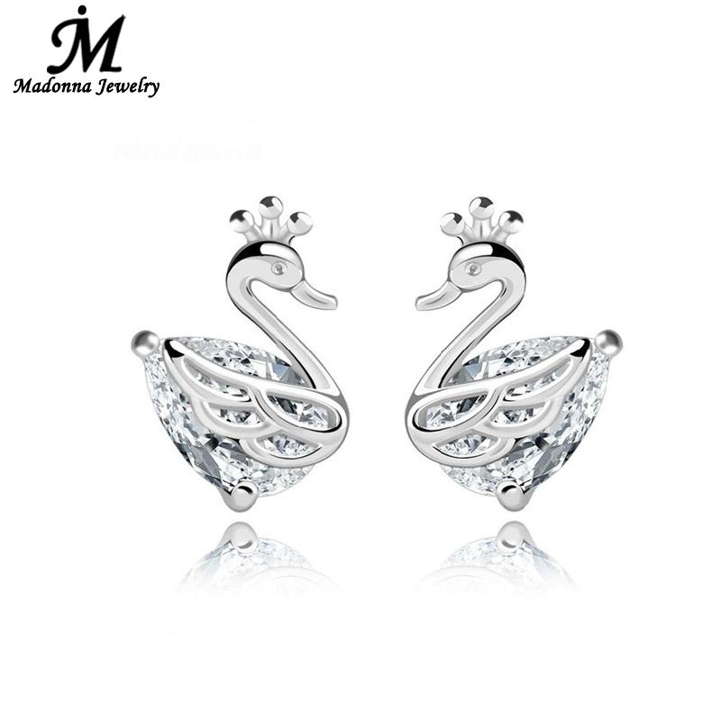 High Quality Rhinestone Beautiful Swan Temperament Crown Women Stud Earrings Party PromEar Buckle Silver Jewelry Wholesale(China (Mainland))