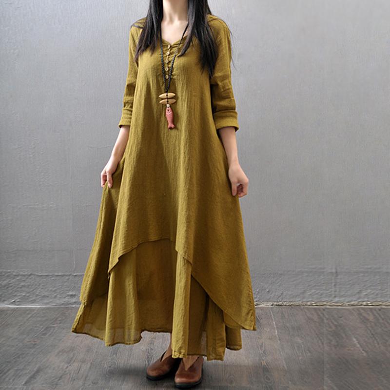 Plus Size Vintage Women Dresses Solid Loose Long Sleeve ...
