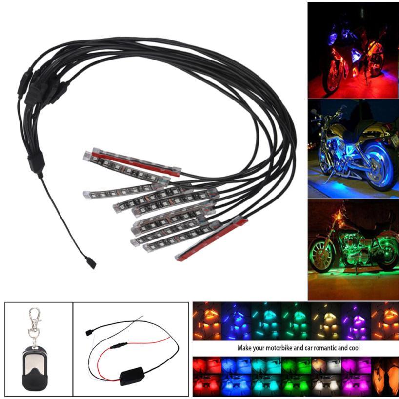 hot sale Motorcycle styling 10PCS RGB LED Car Motorcycle Chopper Frame Glow Lights Flexible Neon Strips Kit the beautiful(China (Mainland))
