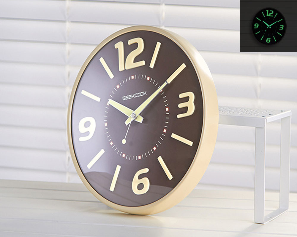 11.8'' Creative Fluorescent Light Wall Clock Luminous Hanging Clock for Home Decoration(China (Mainland))