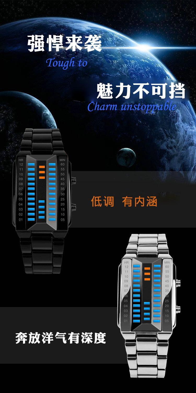 Многофункциональный led электронные часы персонализированные 3d зеркальное моды цепи стальной полосы металла водонепроницаемый любителей смотреть
