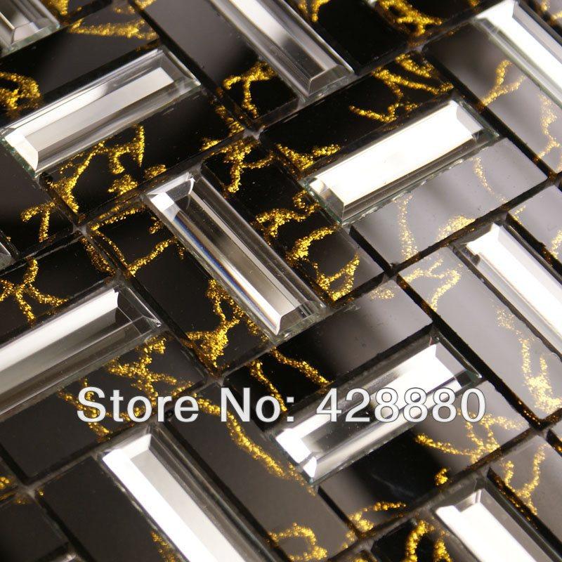 Гаджет  Crystal Mosaic Tile Sheets Golden Liner Wall Mirror Tile Backsplash Mirrored Glass Mosaics Strip Bathroom Tiles Mosaic Art 4027 None Строительство и Недвижимость