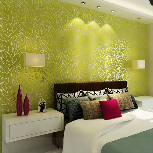 Curve line non woven feature wall wallpapers for bedroom for Wallpaper decoration for home