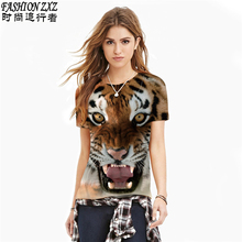 2016 Summer fashion new colorful tops tee for  Women 3dTiger / lips / cat head print t shirt funny cat t-shirt animal tee shirt