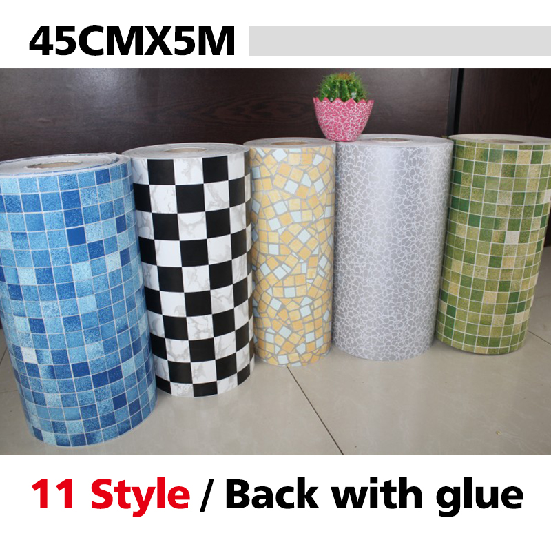5 Meters Vinyl PVC mosaic tile Self adhesive wallpaper for bathroom WC kitchen Anti Oil Waterproof wall stickers home decor roll(China (Mainland))