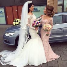 vestido de noiva Cheap Elegant Wedding Gowns Mermaid Bridal Dress Popular Vintage Mermaid Long Sleeves Lace Wedding Dresses 2015(China (Mainland))