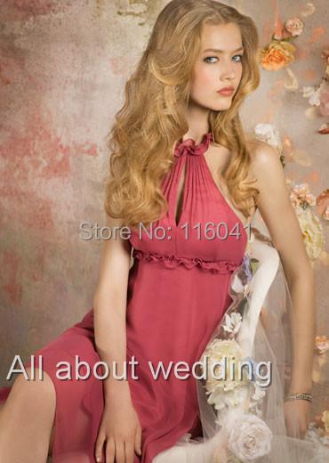 Custom Make A line Halter Chiffon Knee Length Empire Romantic Pink Bridesmaid Dresses(China (Mainland))