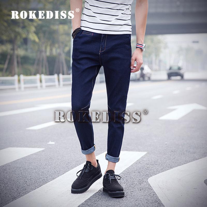 Скидки на 2016 Весной и летом Новых Мужчин Хлопка в талии корейская версия джинсы мужские модные Ноги брюки Девять брюки Синие джинсы F026