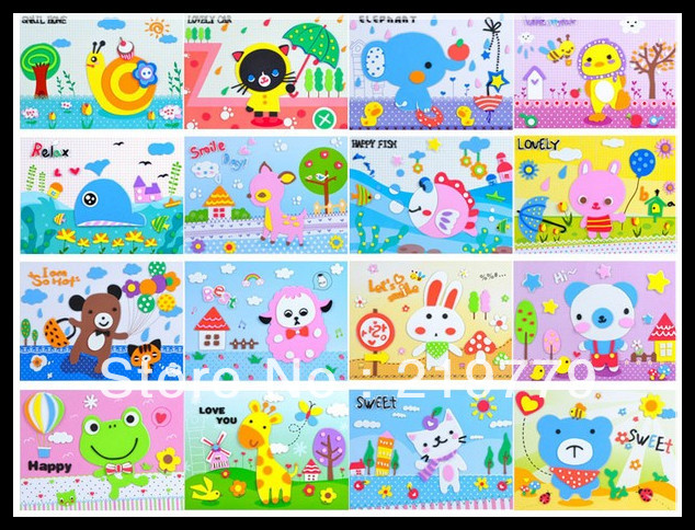 DIY self-adhesive EVA 3D puzzle foam sticker drawing toys,EDUCATIONAL TOYS WHOLESALE Children Gift(China (Mainland))